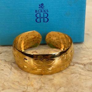 Vintage Birks Gold Over Sterling Etched Cuff